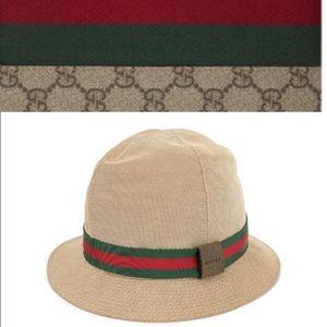 Gucci web striped Bucket  fedora Hat
